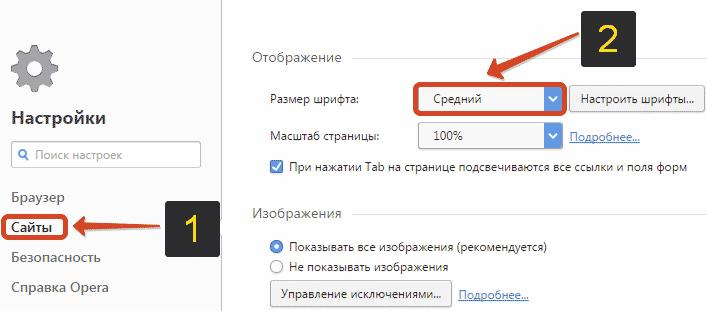 вкладка «Сайты»